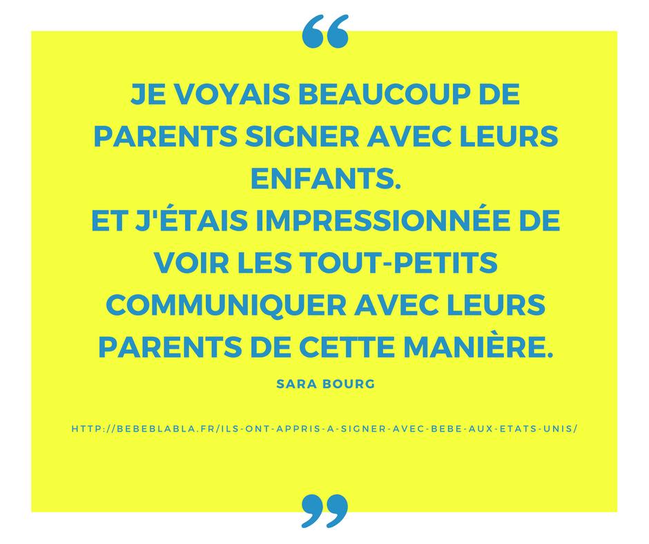 citation sara les aventures de la famille bourg sur le langage des signes pour bébé
