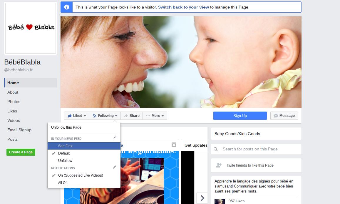 s'abonner sur facebook à bebeblabal