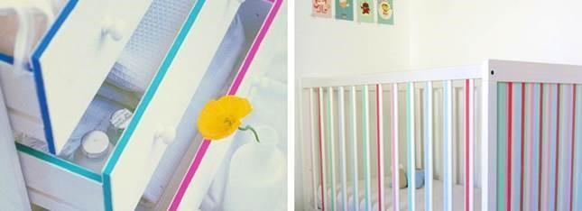 masking tape pour décorer les meubles de bébé